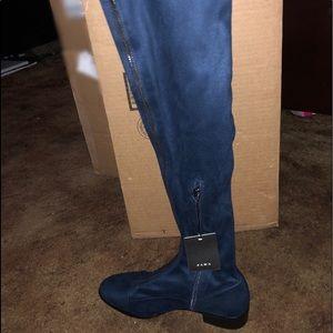 Zara Women Knee High Heel Boots Navy Blue Size 6.5